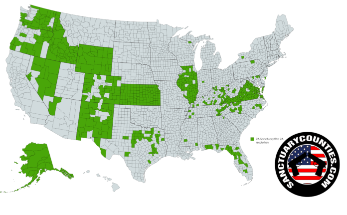 Updated Map of American Sanctuary Counties – 1/23/2020