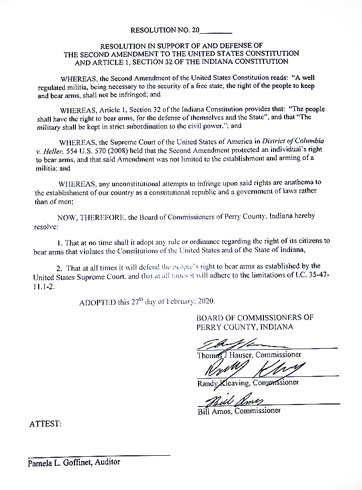 Copy of Signed Perry County Indiana Second Amendment Support Resolution