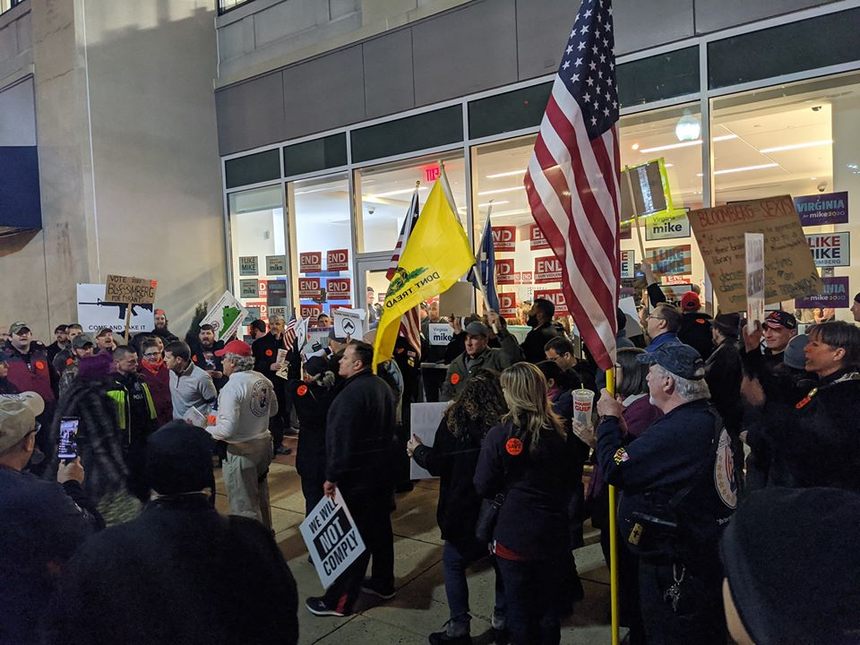 Second Amendment supporters protesting Democrat Fundraiser (From VCDL Group)
