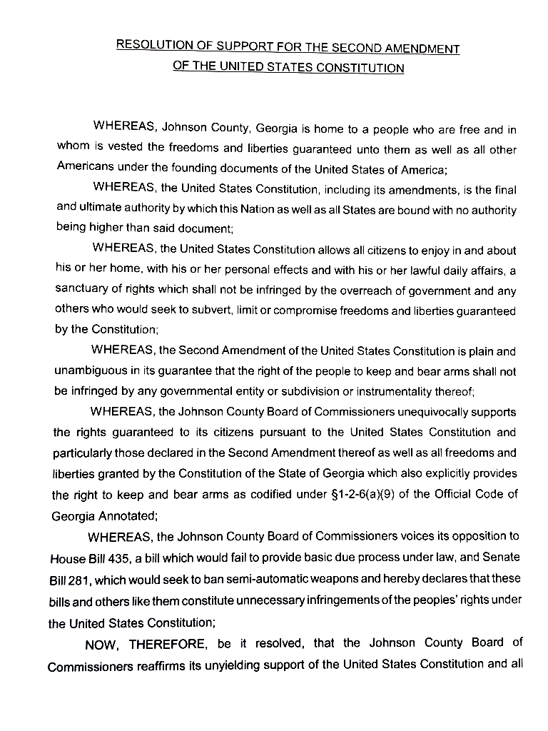 Johnson County resolution of support for the Second Amendment of the United States Constitution Page 1.