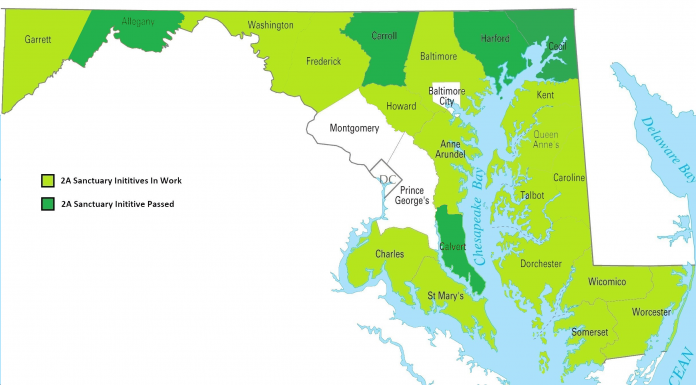 Maryland Second Amendment Sanctuary Map