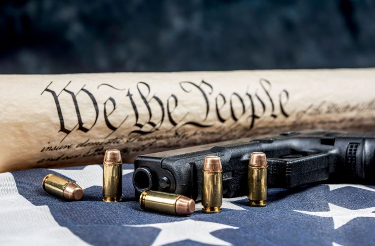United States Constitution, Flag, Gun and Bullets. Second Amendment.