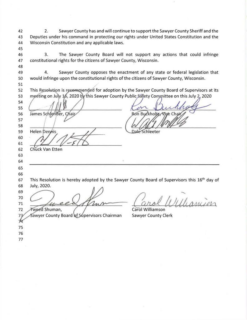 Sawyer County, Wisconsin Second Amendment Reaffirmation Resolution 2020-27