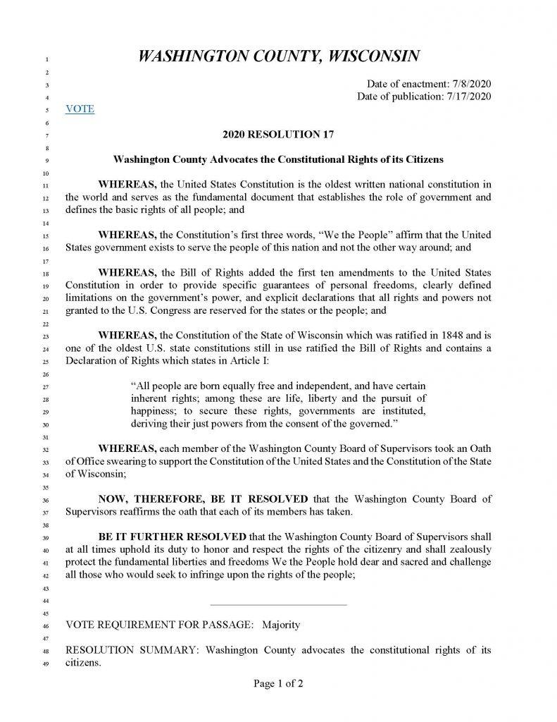 Washington County, Wisconsin 2020 Resolution 17