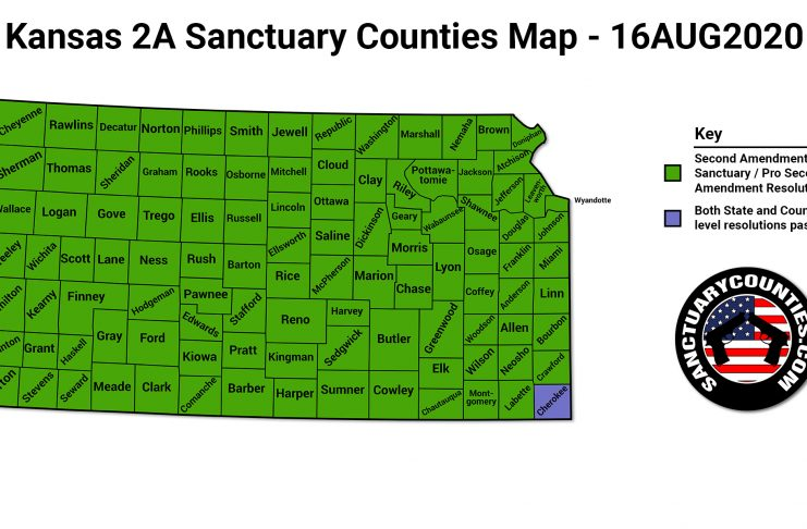 Kansas 2A Sanctuary Counties Map