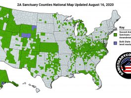National Second Amendment Sanctuary Map Aug 16 2020