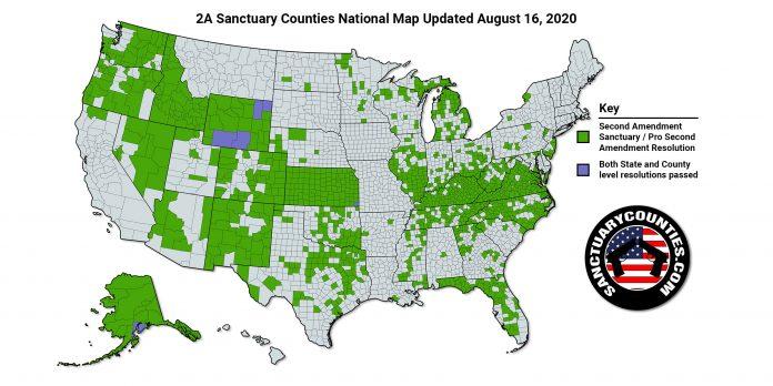 National Second Amendment Sanctuary Map Aug 16 2020