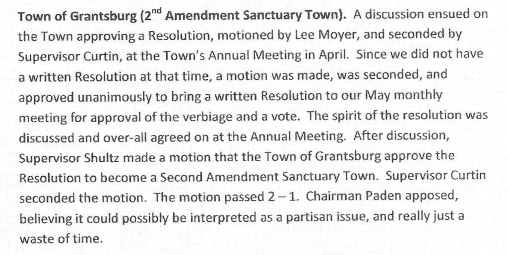 Town of Grantsburg, Wisconsin Second Amendment Sanctuary minutes.