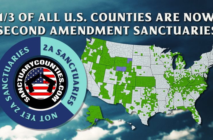 Graphic showing that one third of all U.S. counties are now Second Amendment Sanctuaries