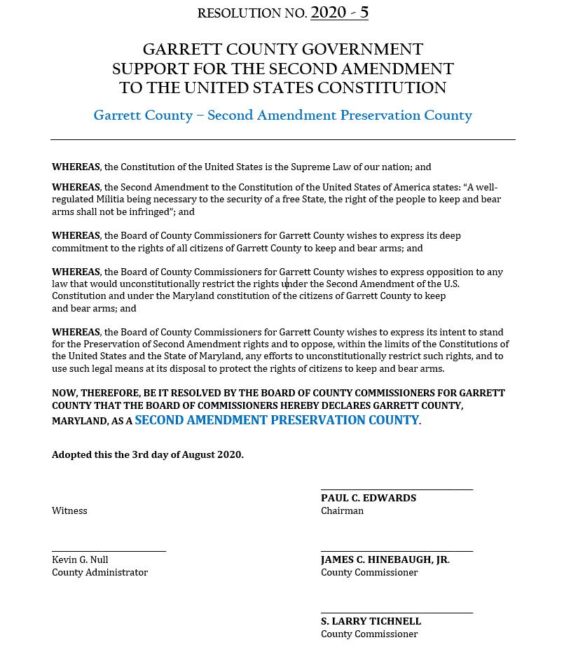 Garrett County Maryland Second Amendment Preservation Resolution