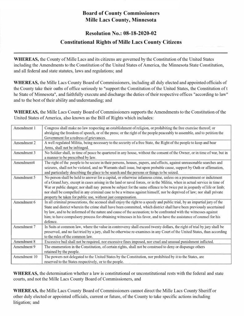 Mille Lacs County Minnesota - Resolution No. 08-18-2020-01 Second Amendment Page 1