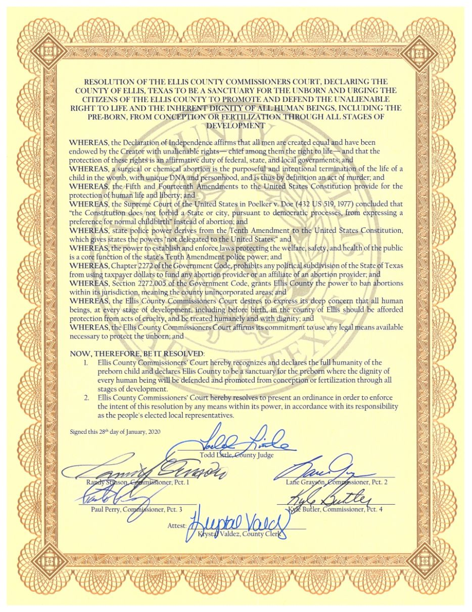 Ellis County Sanctuary for the Unborn Resolution