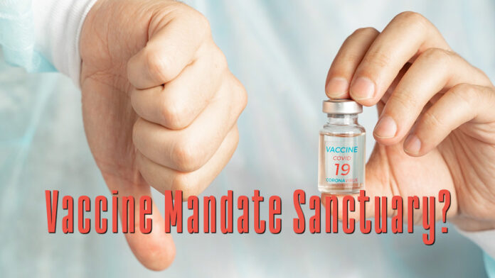 Picture shows one hand holding a vaccine while the other hand makes a thumbs down sign. Text reads: Vaccine Mandate Sanctuary?