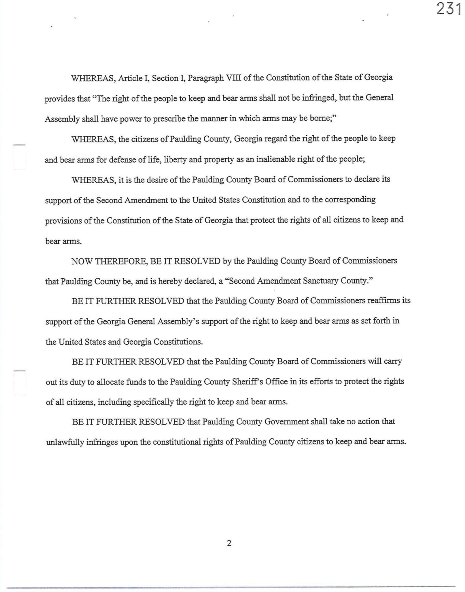 Paulding County 2A Sanctuary Resolution Page 2
