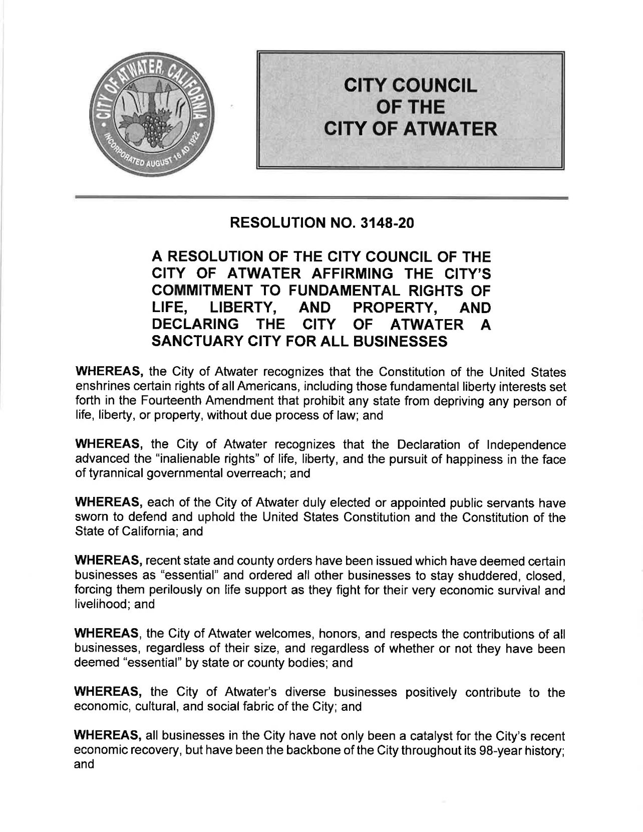 Atwater Resolution No. 3148-20 - pg 1