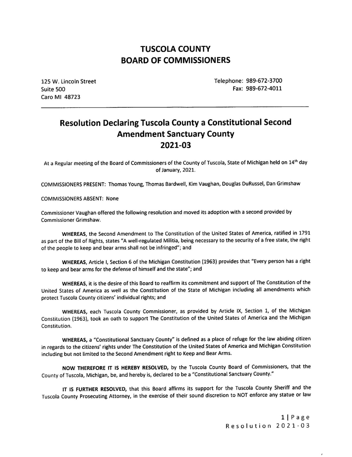Tuscola County Constitutional Second Amendment Sanctuary Resolution pg 1