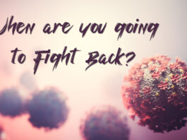 "Picture shows coronavirus and text that reads, ""When are you going to Fight Back"""