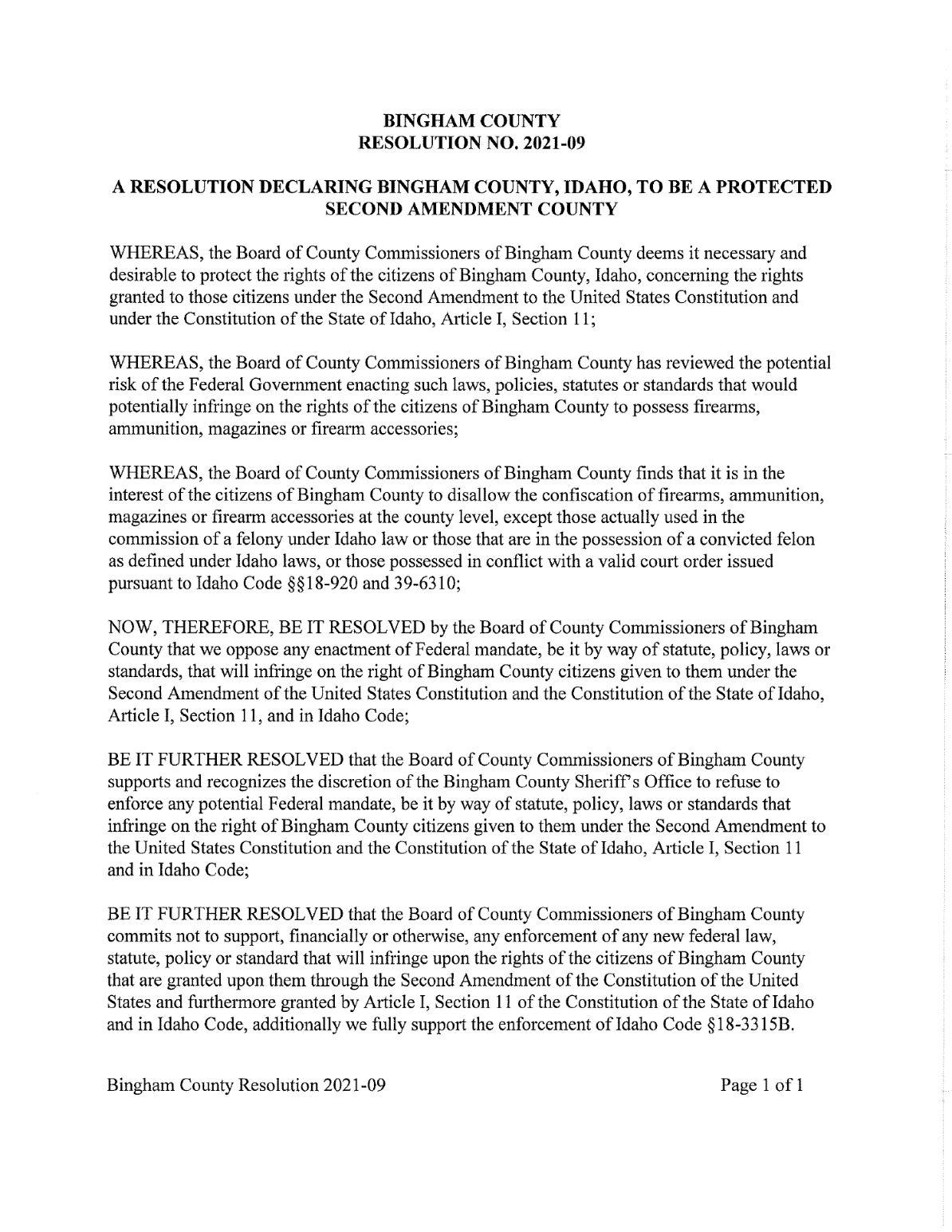 Bingham County Second Amendment Sanctuary pg1