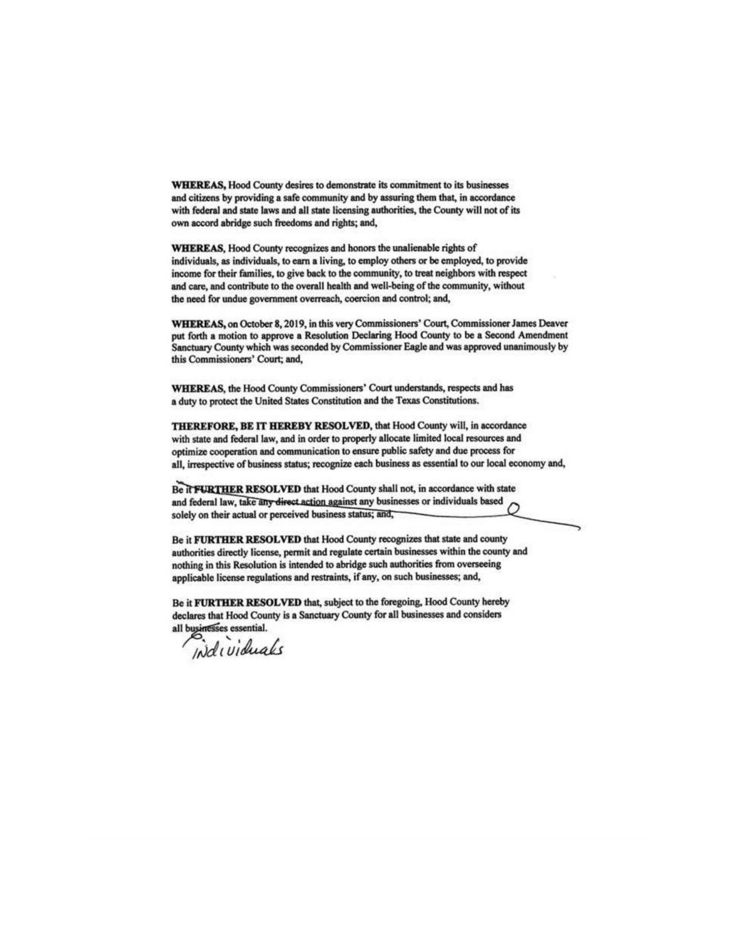 Hood County Texas Business Sanctuary Resolution pg-2