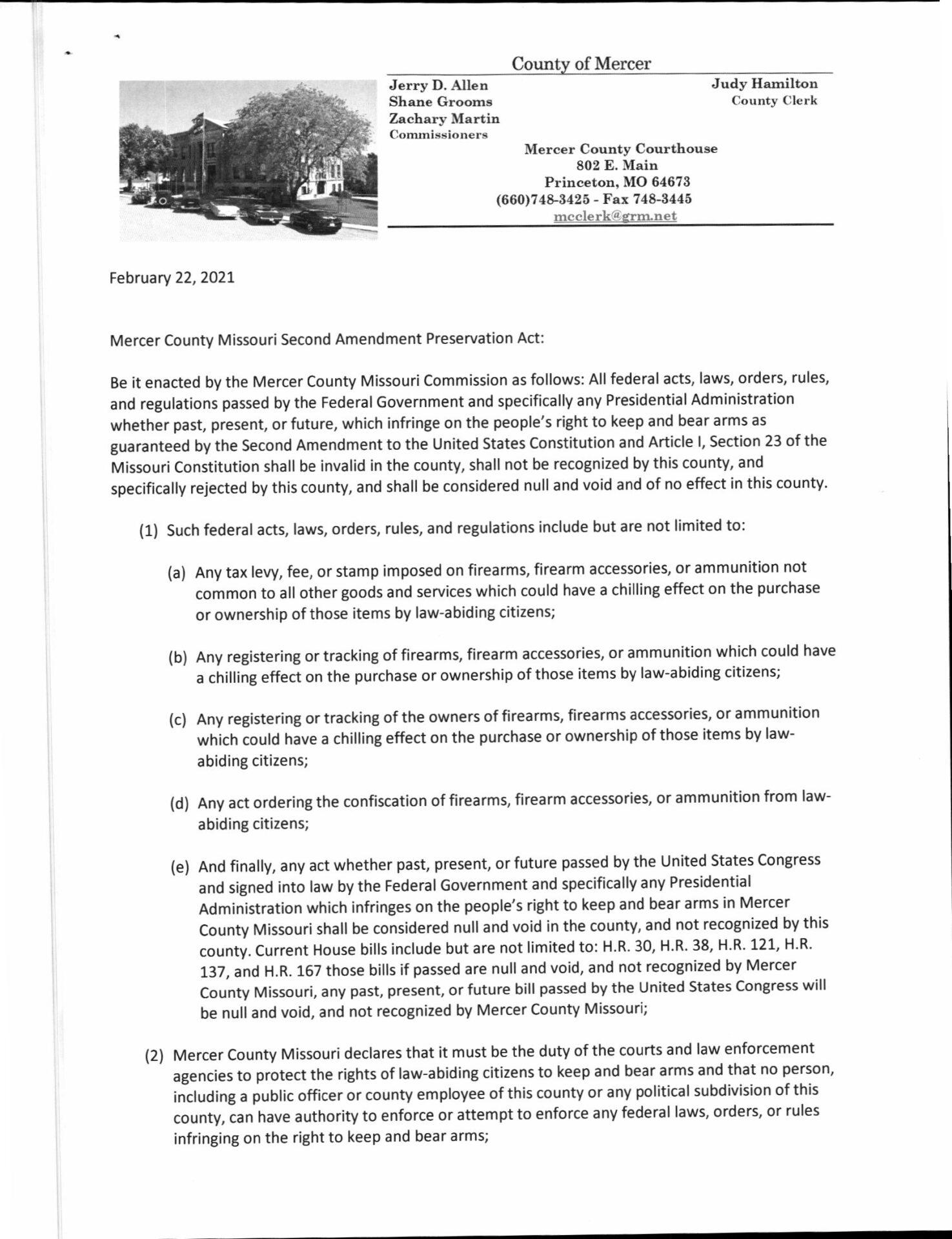 Mercer County Missouri Second Amendment Preservation Act pg1