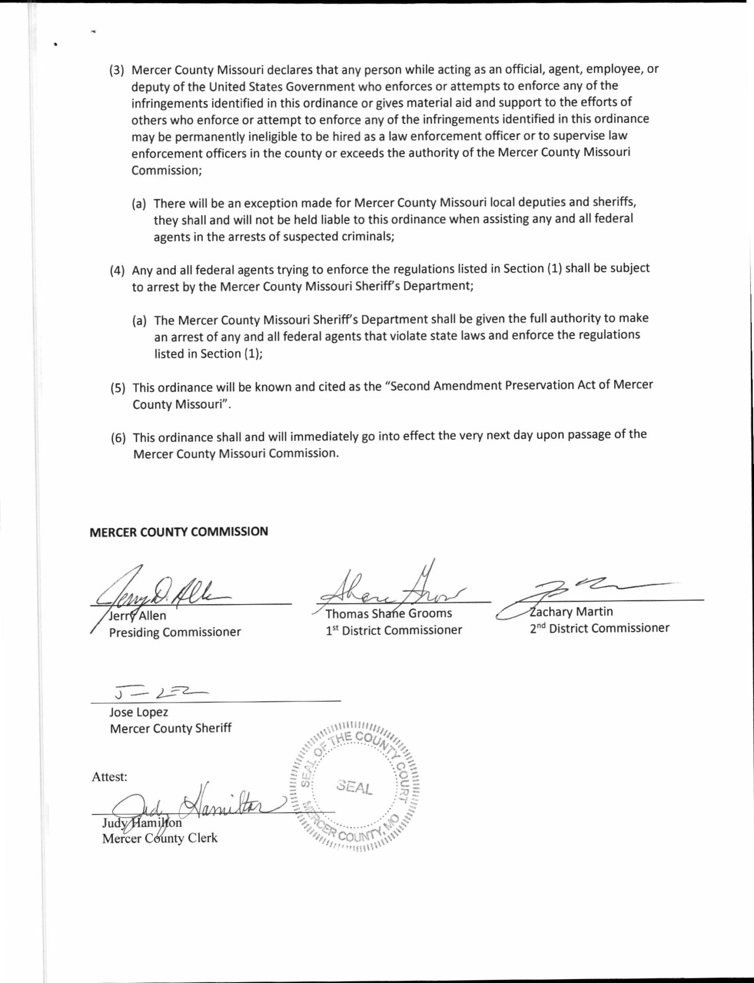 Mercer County Missouri Second Amendment Preservation Act pg2