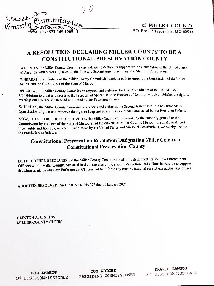 Miller County Constitutional Preservation Resolution