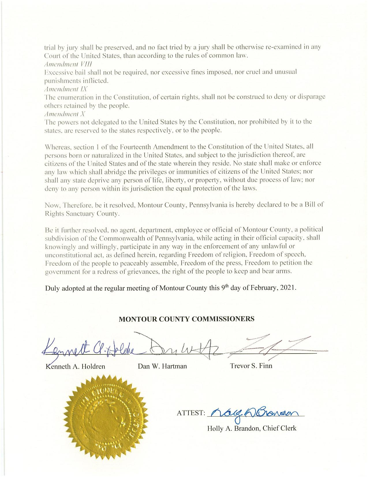 Montour County Bill of Rights Sanctuary Signed Resolution R-2-9-2021 page 2