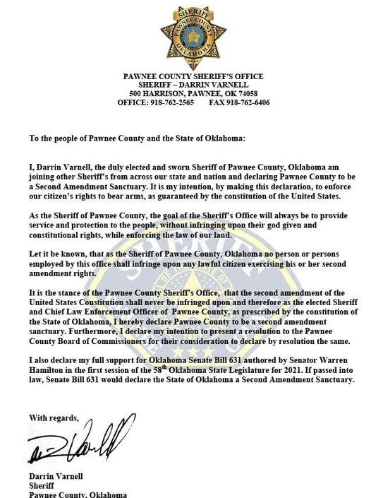 Pawnee County Sheriff Second Amendment Sanctuary Declaration