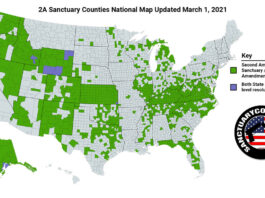 National Second Amendment Sanctuary Map Updated March 1, 2021