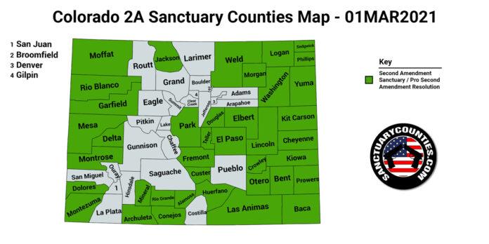 Colorado Second Amendment Sanctuary State Map Medium Resolution