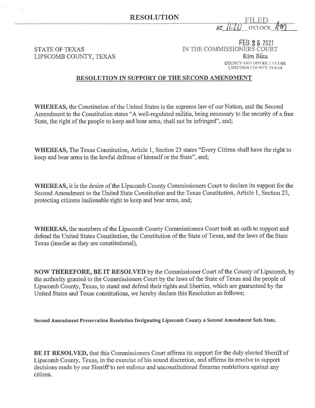 Lipscomb County, Texas Second Amendment Resolution page 1