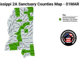Mississippi Second Amendment Sanctuary State Map