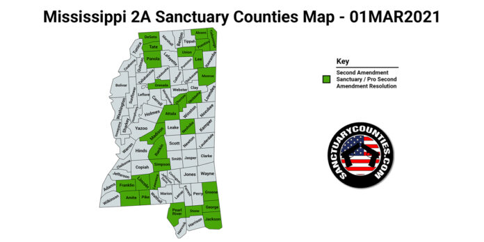 Mississippi Second Amendment Sanctuary State Map