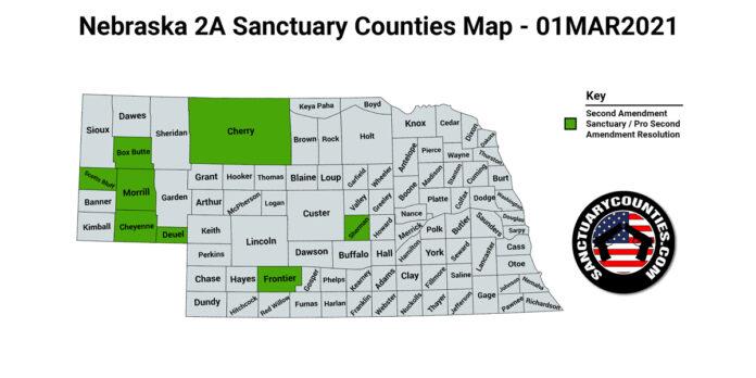 Nebraska Second Amendment Sanctuary State Map