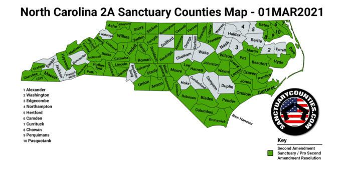 North Carolina Second Amendment Sanctuary State Map