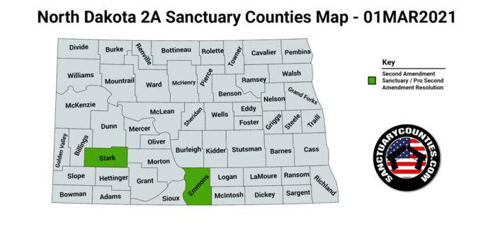 North Dakota Second Amendment Sanctuary State Map