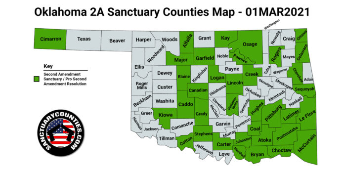 Oklahoma Second Amendment Sanctuary State Map