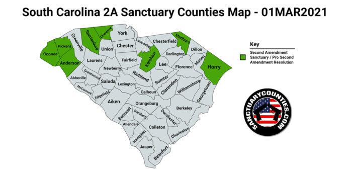 South Carolina Second Amendment Sanctuary State Map