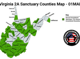 West Virginia Second Amendment Sanctuary State Map