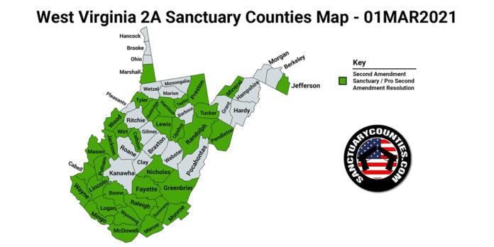 West Virginia Second Amendment Sanctuary State Map