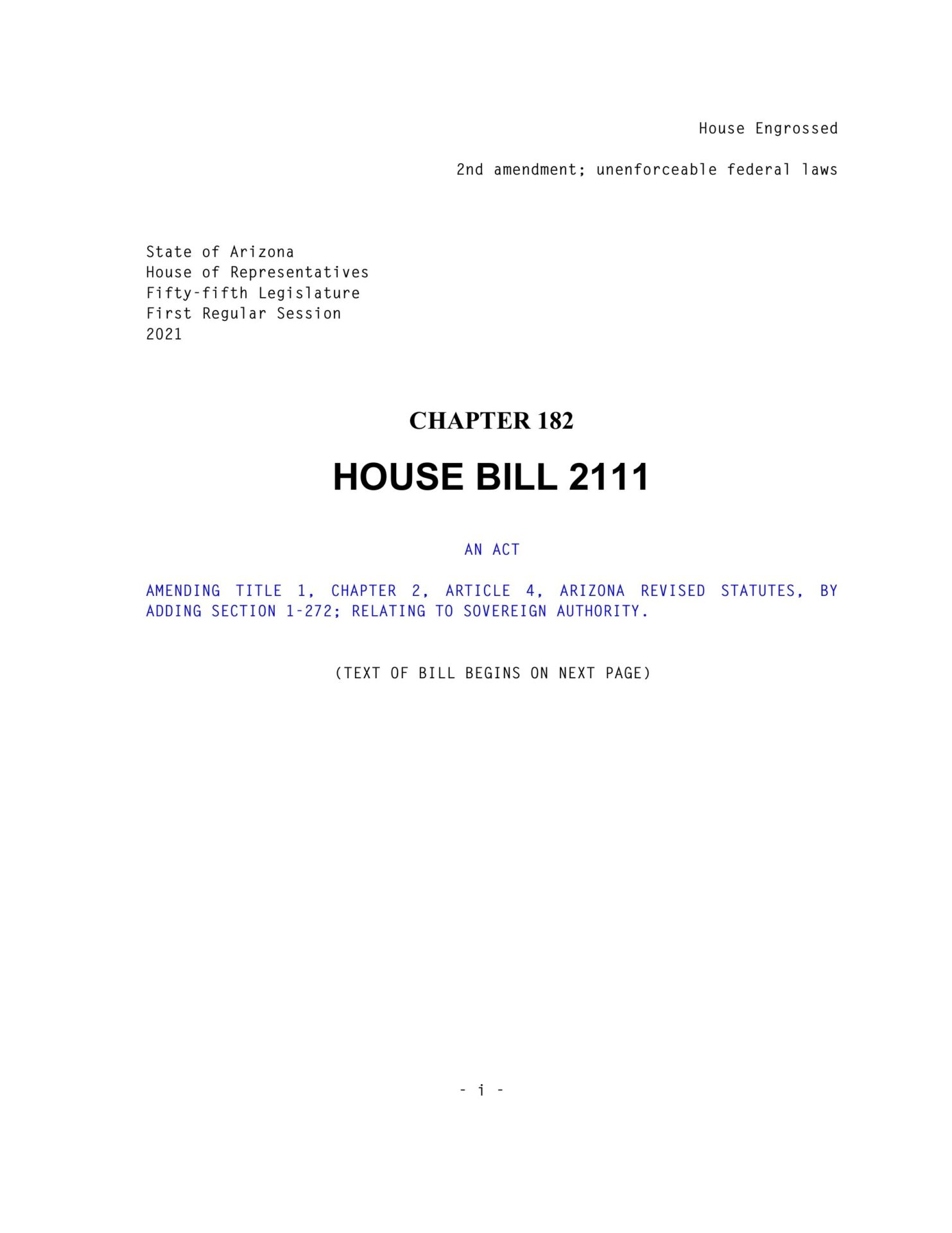 Arizona 2nd Amendment Firearm Freedom Act PG1