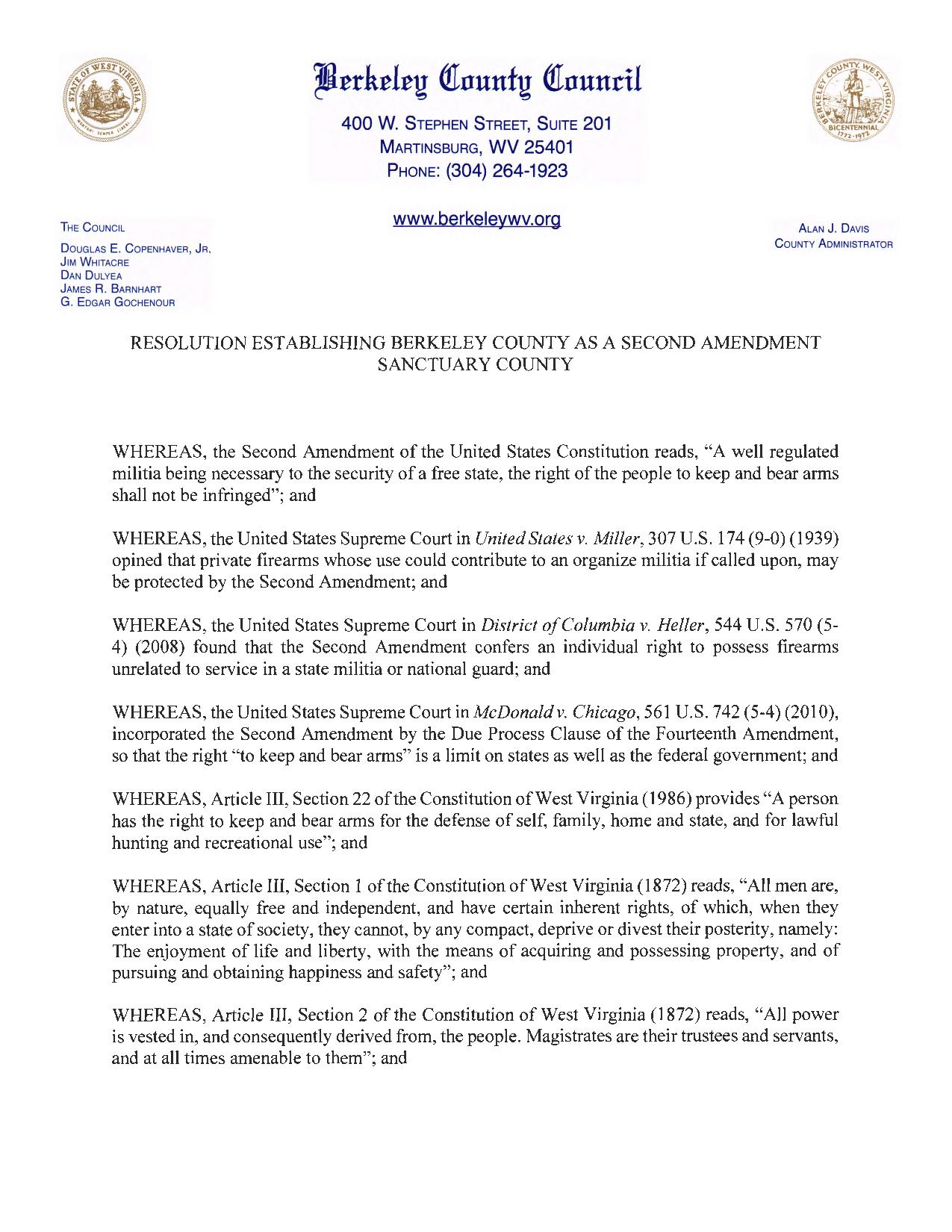 Berkley County West Virginia Second Amendment Sanctuary Resolution Page 1