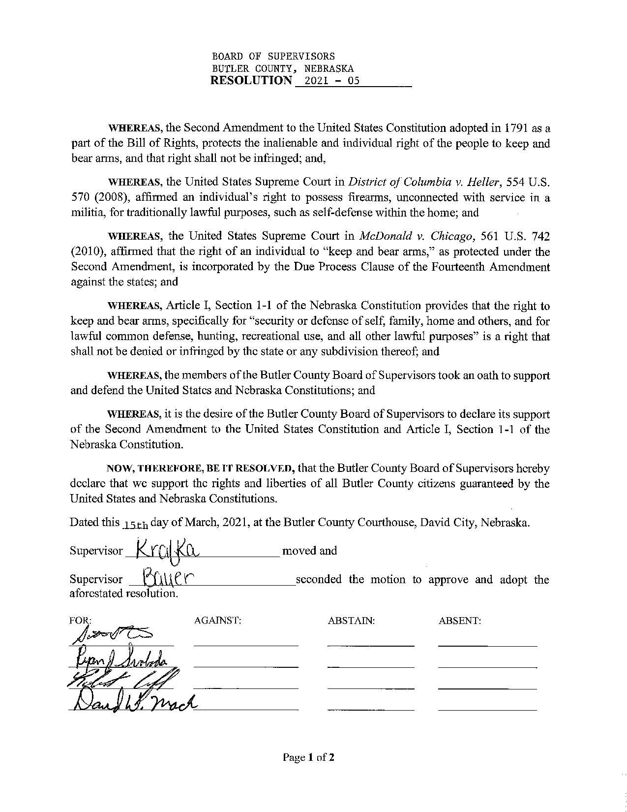 Butler Nebraska Resolution Page 1