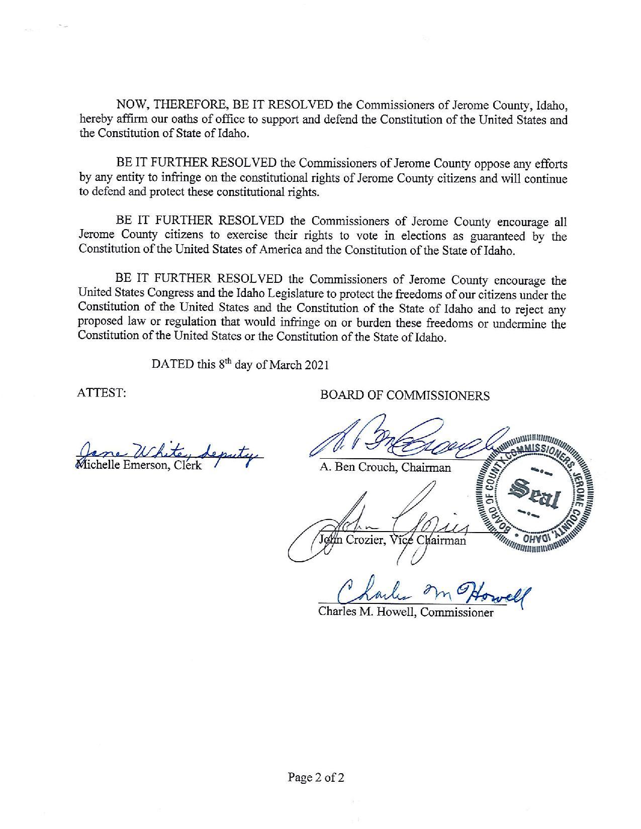 Jerome County Idaho Resolution Page 2