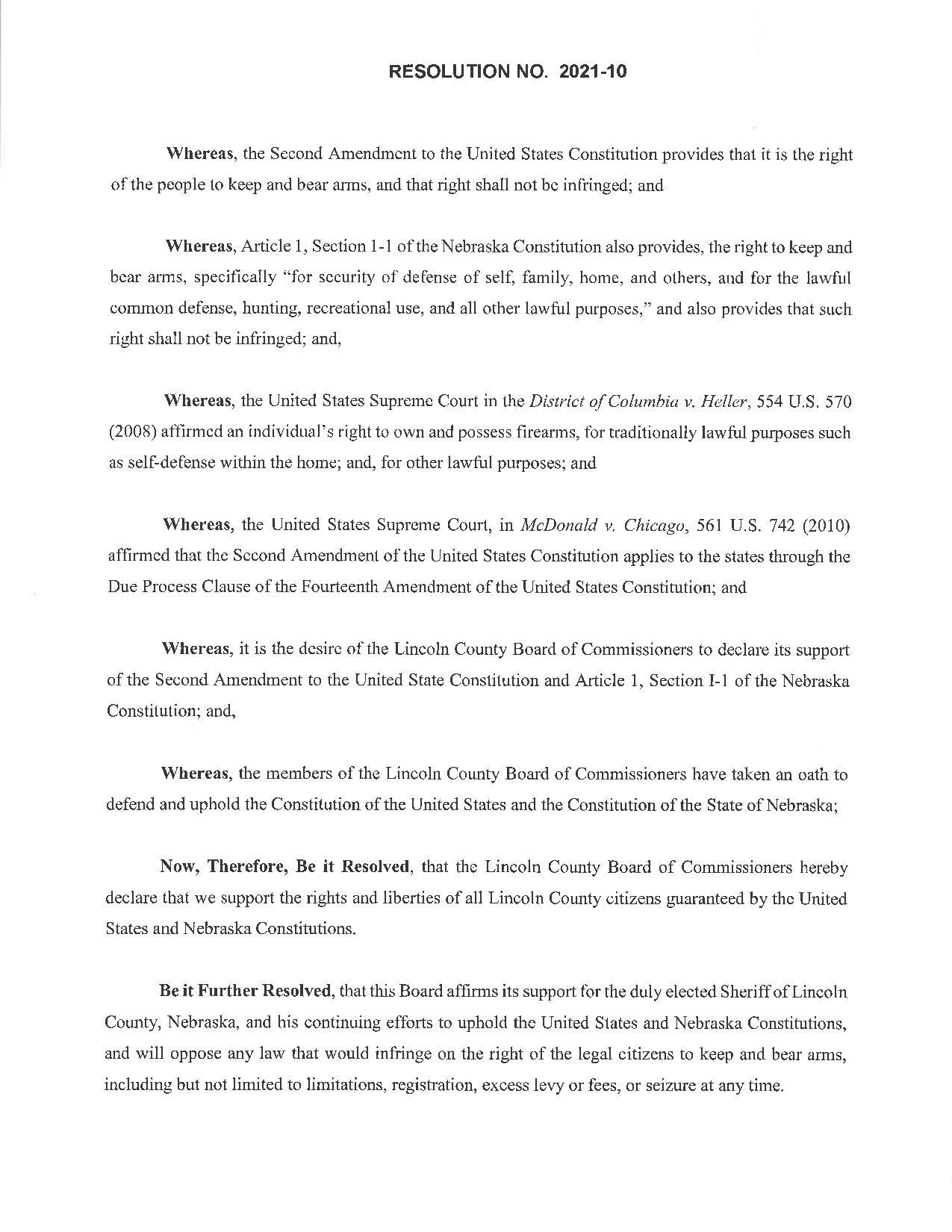 Lincoln County Nebraska Resolution Page 1