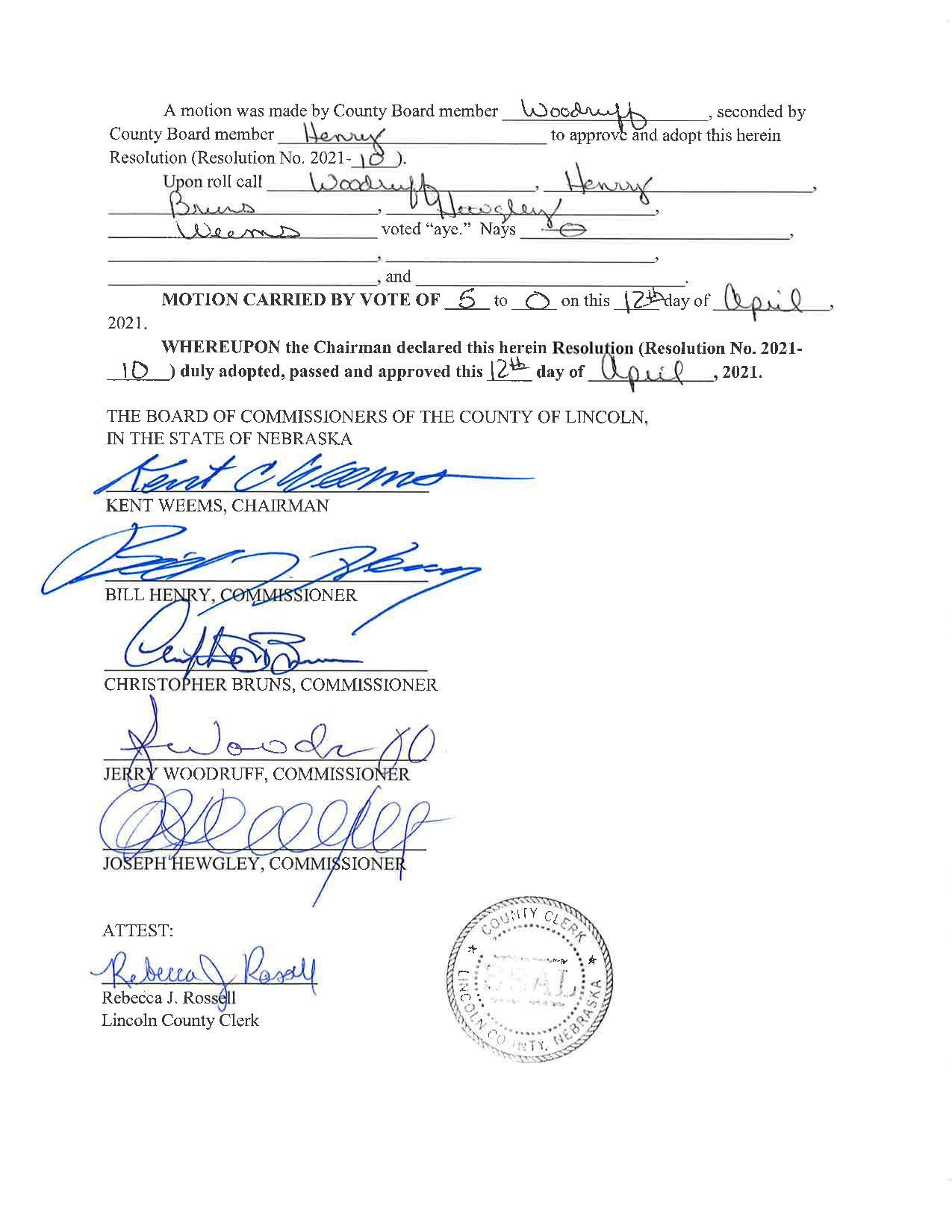 Lincoln County Nebraska Resolution Page 2