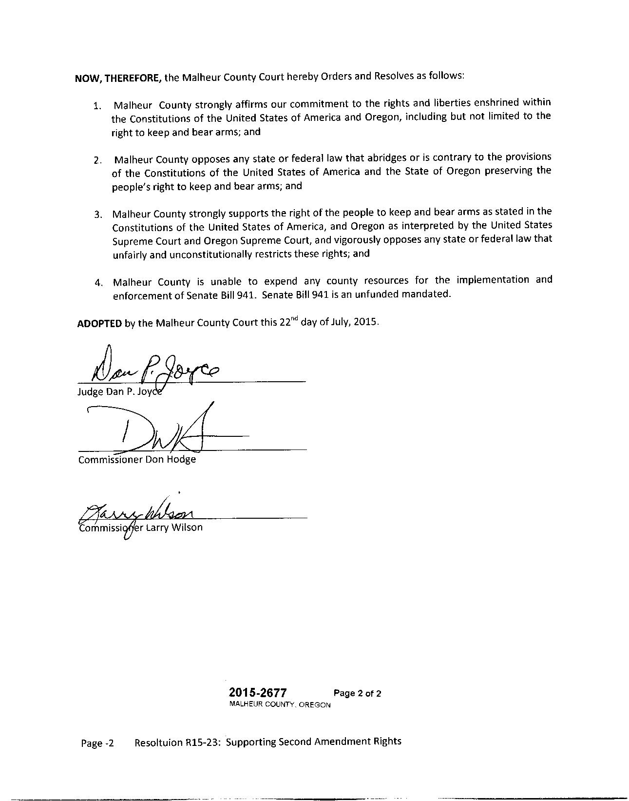 Malheur County Resolution in Support of the Second Amendment page 2