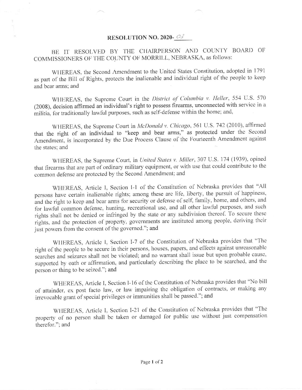 Morrill County Nebraska 2nd Amendment Resolution Page 1