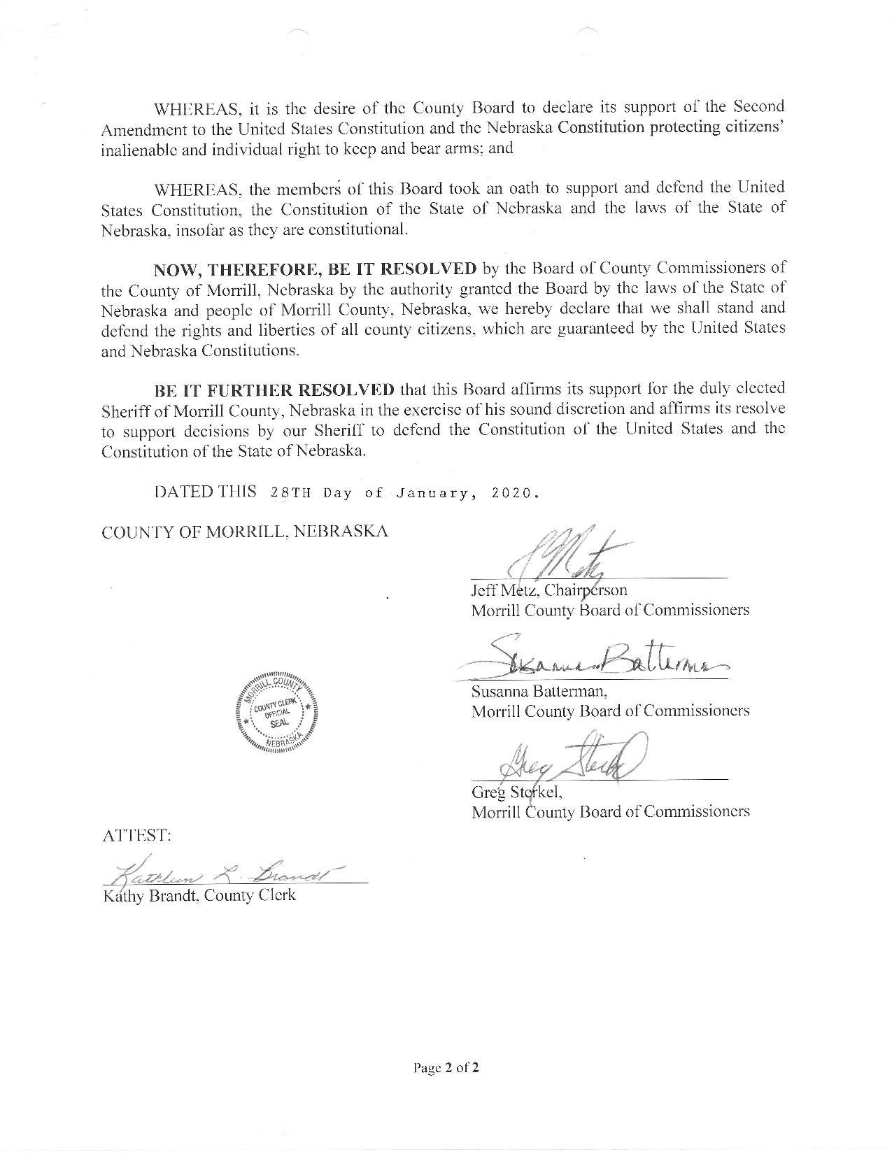 Morrill County Nebraska 2nd Amendment Resolution Page 2