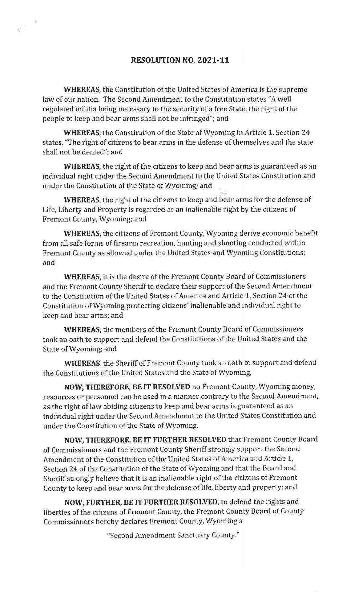 RES-2021-11 Second Amendment Sanctuary Fremont Wyoming page 1